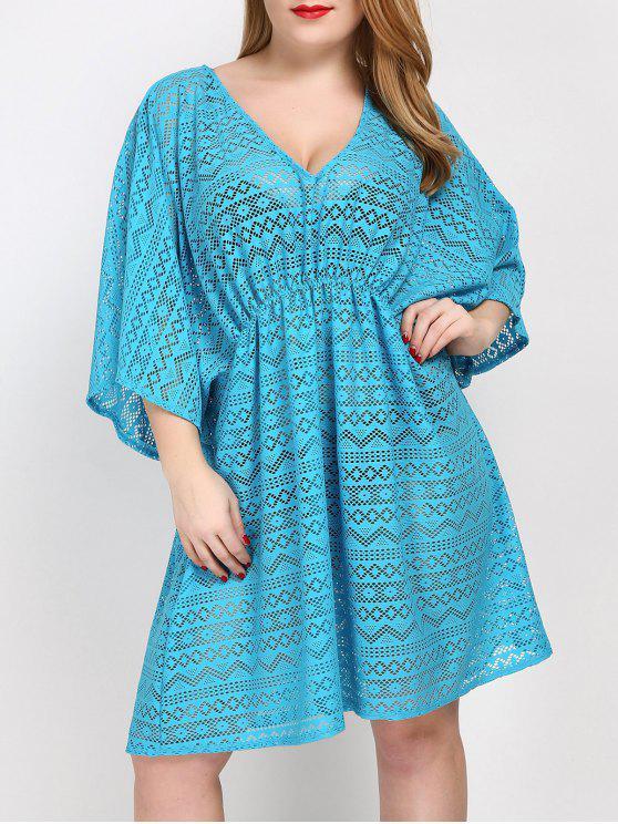 Übergröße Tunika Kleid Verdeckung mit V Hals - Meeresblau Eine Größe