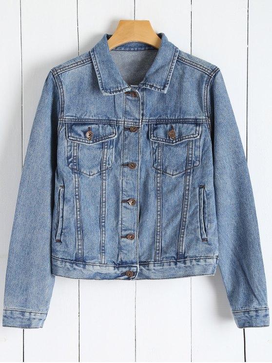Dril de algodón del botón Chaqueta con bolsillos - Denim Blue L