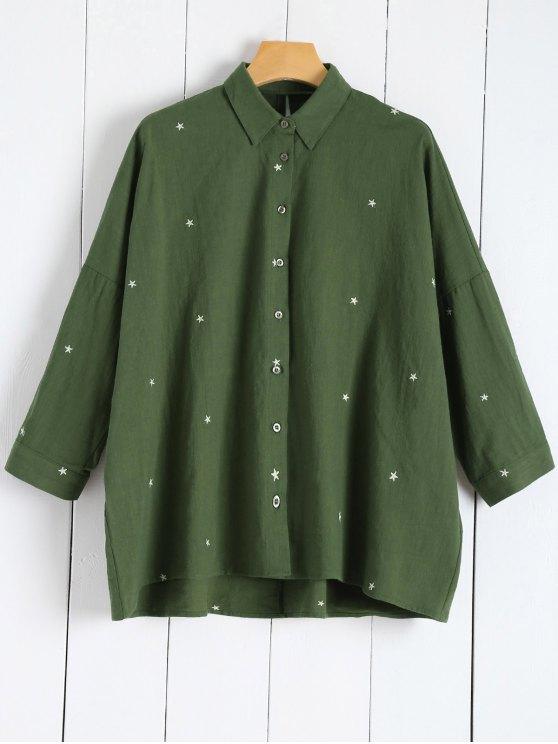 Blouse brodée étoiles lin mélangé - Vert L