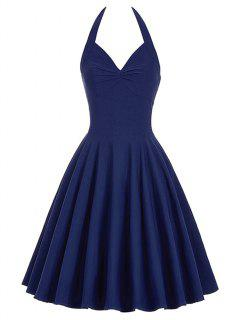 Lace-Up Halter Vintage Swing Corset Club Dress - Purplish Blue S