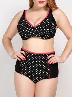 Polka Dot Cute Plus Size Bathing Suit - Black Xl