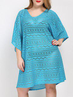 Plus Size Backless Cover Up Dress - Lake Blue