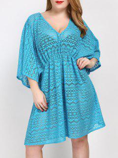 Plus Size V Neck Tunic Dress Cover Up - Lake Blue
