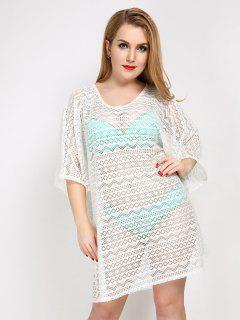 Plus Size Hollow Out Sheer Lace Cover Up - White
