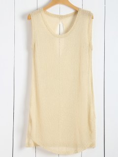 Tricoté Vest See-Through Cover Up - Abricot