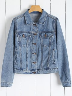 Button Up Veste En Jean Avec Poches - Denim Bleu S