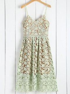 Cami Cut Out Scalloped Midi Dress - Green L