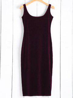 Back Slit Velvet Tank Dress - Wine Red