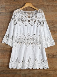 Crochet Plage Cover-Up Dress - Blanc