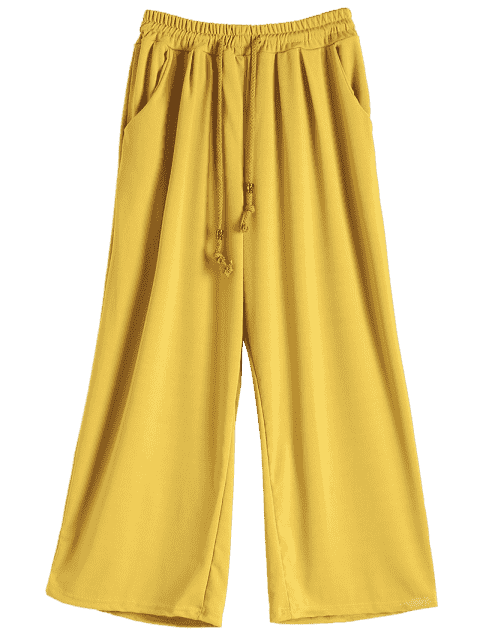 shop Elastic Waist Culotte Pants - GINGER 4XL Mobile