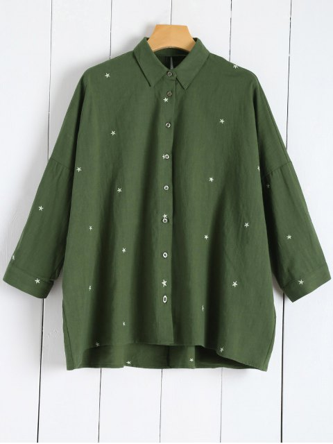 women's Star Embroidered Collared Shirt - GREEN M Mobile