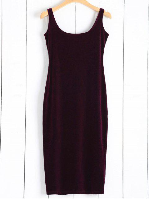 online Back Slit Velvet Tank Dress - WINE RED ONE SIZE Mobile
