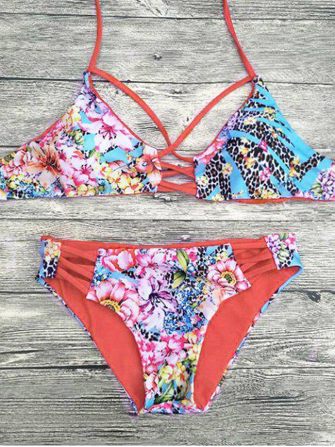 unique Floral Printed Strappy Bikini Set - RED L Mobile