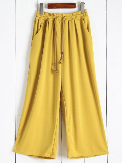 Elastic Waist Culotte Pants - Ginger 2xl
