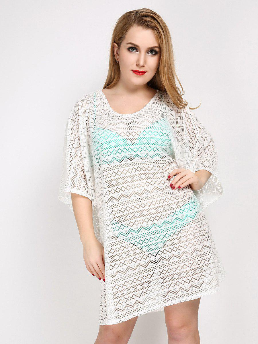 Plus Size Hollow Out Sheer Lace Cover Up 208035601