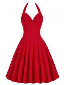 Lace-Up Halter Vintage Swing Corset Club Vestido - Rojo S