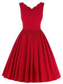Scalloped Una Línea De Vestido De Cóctel Swing - Rojo M