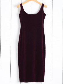 فستان مخمل تمزيق المتن - نبيذ أحمر