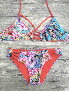 Floral Printed Strappy Bikini Set - Red Xl