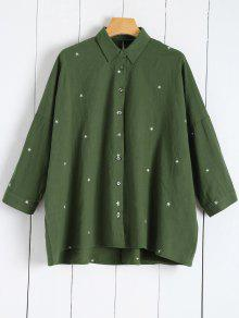 Star Embroidered Collared Shirt - Green M