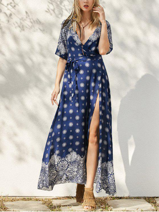 fashion Bohemian Printed Belted Maxi Dress - PURPLISH BLUE ONE SIZE