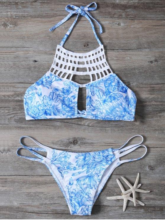 shops Printed String Cut Out Bikini Set - BLUE S