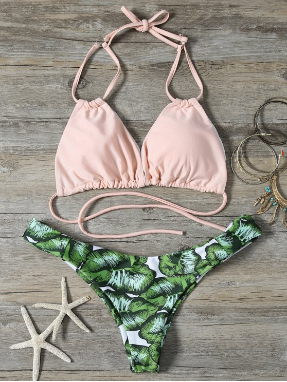 shop String Low Cut Tropical Print Bikini Set - GREEN S
