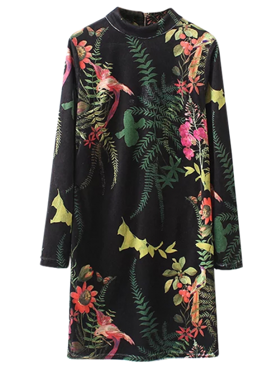 women Plant Print Straight Velevt Shift Dress - BLACK S