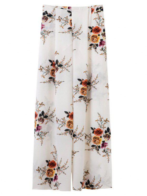 Los pantalones de pierna ancha hendidura florales - Blanco M