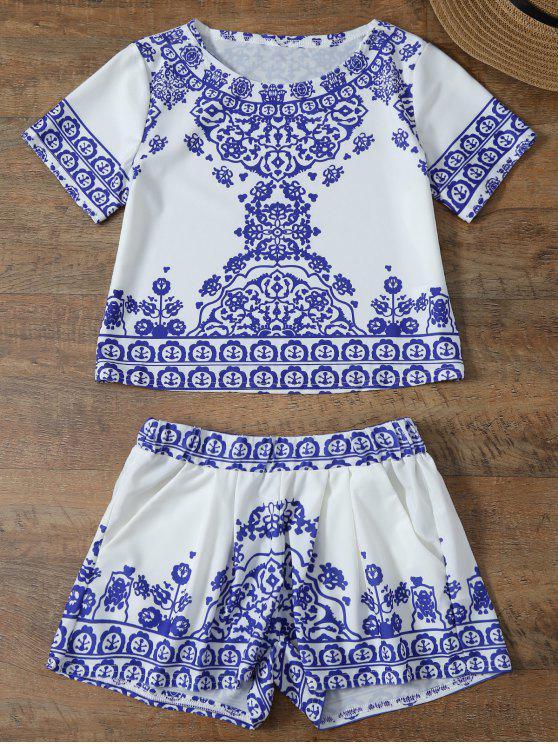 Retro Blumenmuster Kurzarm T-Shirt und Shorts Suit - Blau & Weiß L