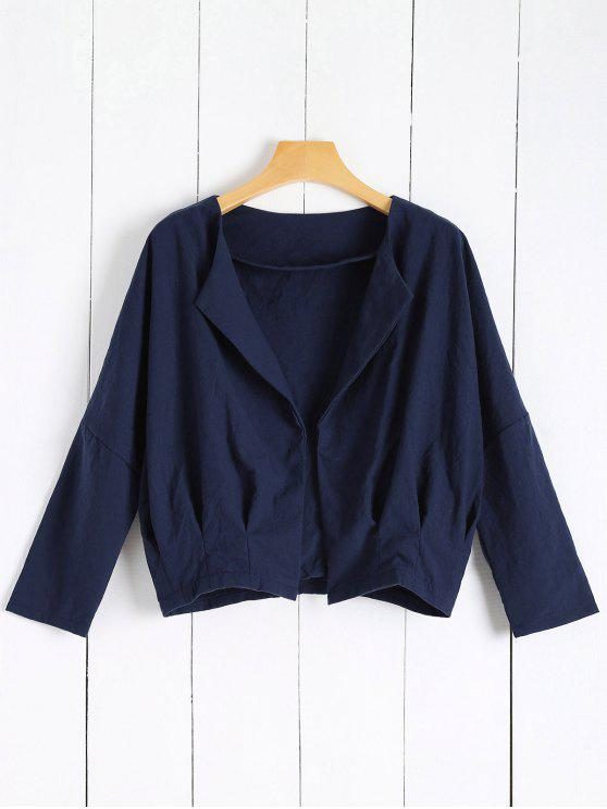 chic Solid Color Batwing Sleeve Round Neck Jacket - DEEP BLUE S