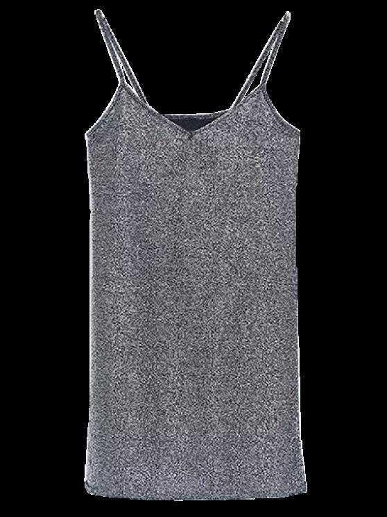 affordable Glitter Slip Mini Dress - SILVER ONE SIZE