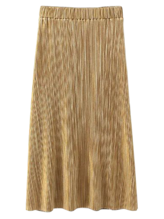online Glitter Pleated Midi Skirt - GOLDEN M
