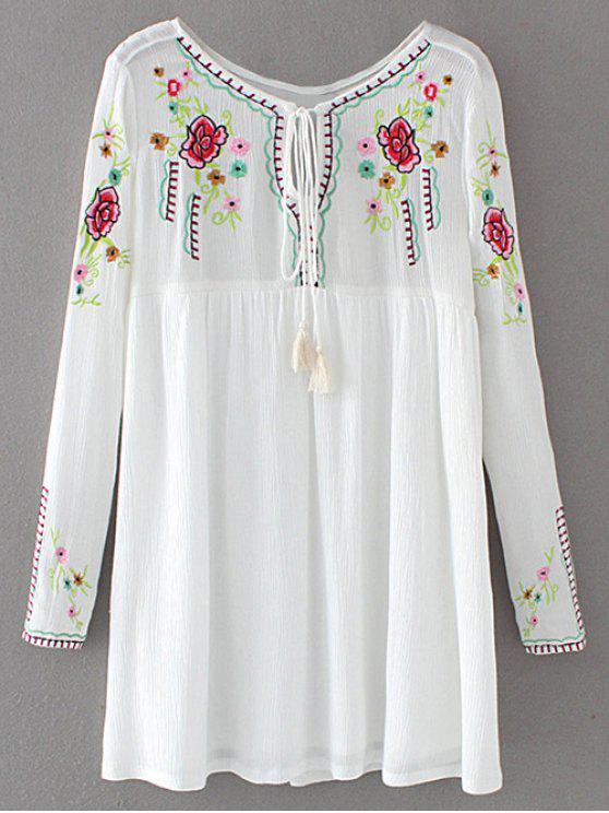 lady Drawstring Embroidered Floral Smock Vintage Dress - WHITE S