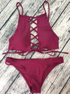 Lace-Up High Neck Bikini - Wine Red S