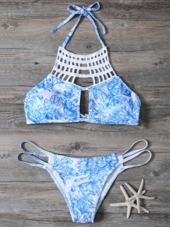 Printed String Cut Out Bikini Set - Blue S