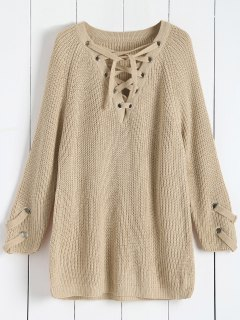 Lace Up V Neck Solid Color Sweater - Apricot