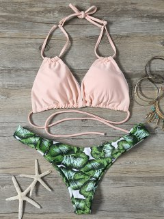 String Low Cut Tropical Print Bikini Set - Green S