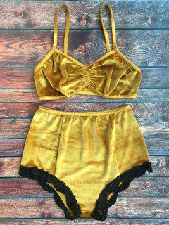 Lace Hem High Waisted Velvet Bra Set - Ginger S