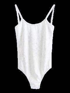 Combinaison Moulante En Velours Avec Bretelles Fines - Blanc S