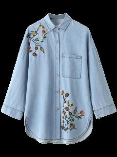 De Gran Tamaño Camisa Bordada Jean - Azul S