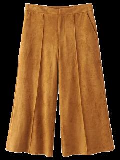 Pantalon Gaucho En Faux Suède - Kaki Foncé S