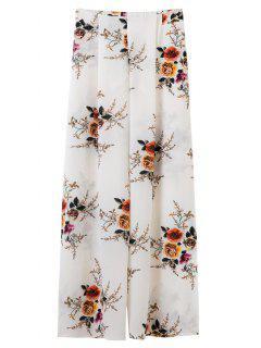 Slit Floral Wide Leg Pants - White L
