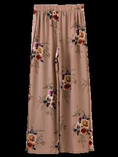 Slit Floral Wide Leg Pants - Pale Pinkish Grey M