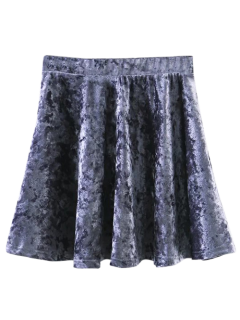 Velvet Mini A-Line Skirt - Gray M