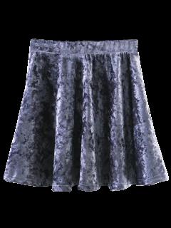 Mini-jupe Trapèze En Velours - Gris S