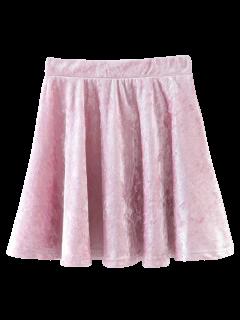 Mini-jupe Trapèze En Velours - Rose PÂle M