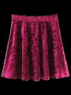 Velvet Mini A-Line Skirt - Wine Red L
