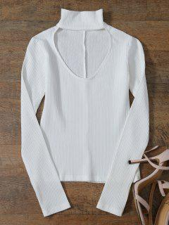 Découpez Out Mock Neck Ribbed Layering Top - Blanc S