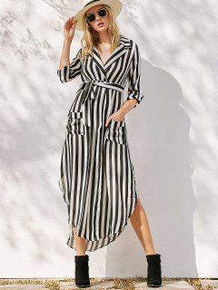 Reverskragen Gestreifte Taschen Kleid Mit Gürtel - Weiß & Schwarz L